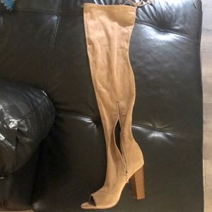 76cd04772a58 Shoes - Thigh High suede open toed heeled boots.